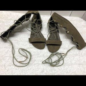 Olive green gladiator sandals size 6.5